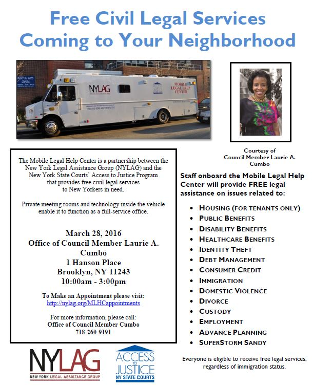 NYLAG Mobile Clinic 3-28-2016