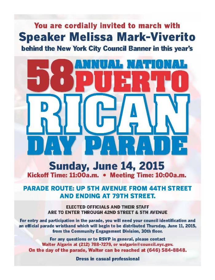 58th Annual National Puerto Rican Day Parade Flyer
