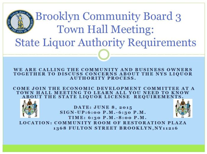 Brooklyn Community Board Three Town Hall Meeting-SLA 3.20.15