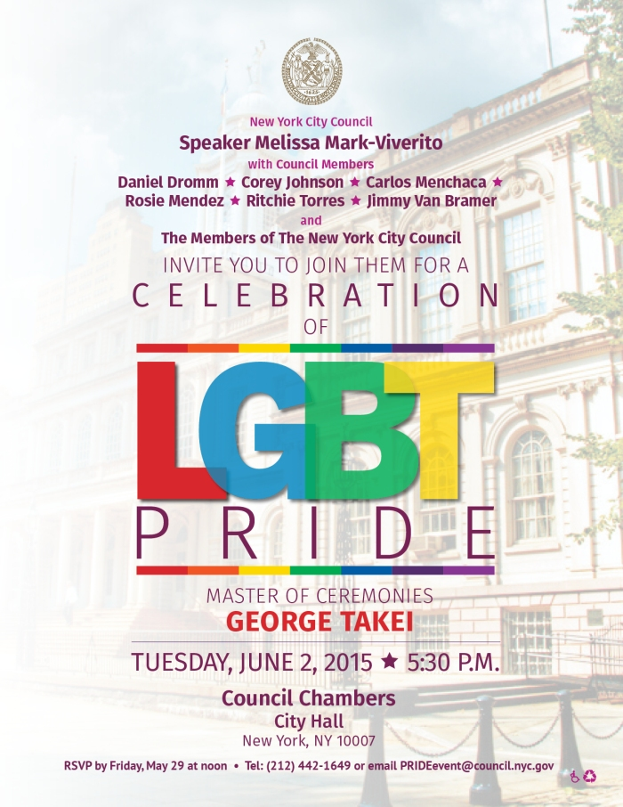 Join us to Celebrate LGBT Pride with George Takei and  the NYC Council
