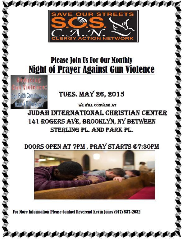 MAY  2015 NIGHT OF PRAYER AGAINST GUN VIOLENCE FLYER