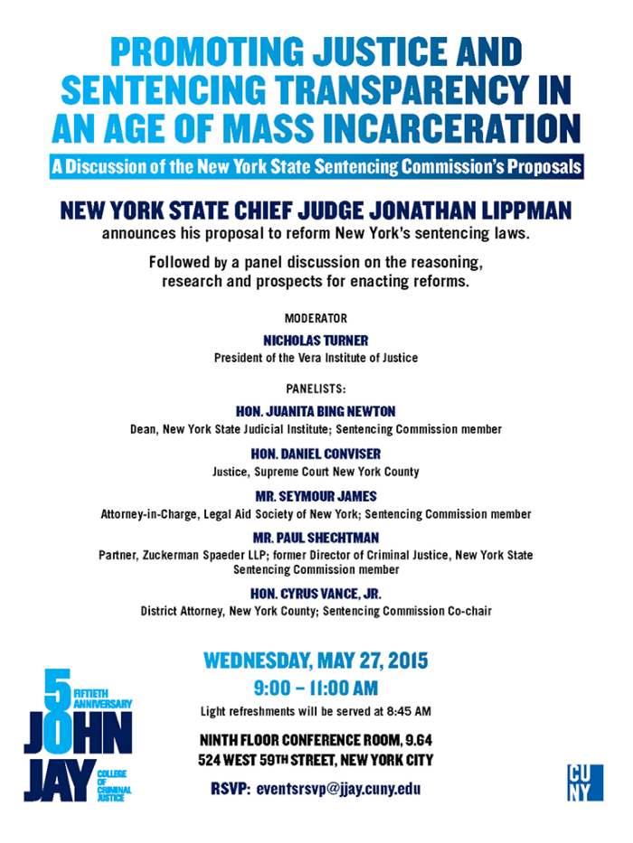 Promoting Justice and Sentencing Transparency in an Age of Mass Incarceration on Wednesday, May 27th