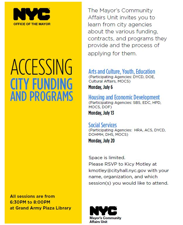 Accessing City Funding Flyer - FINAL