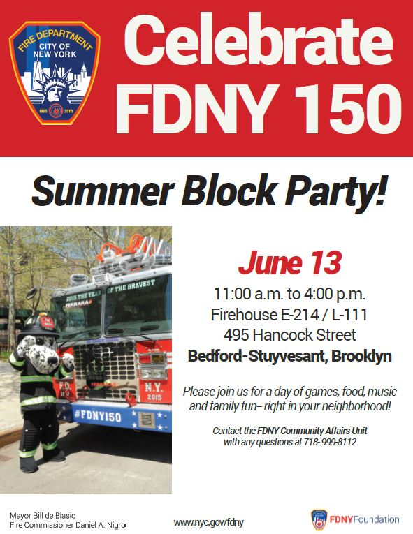 FDNY Bed-Stuy Block Party Flyer