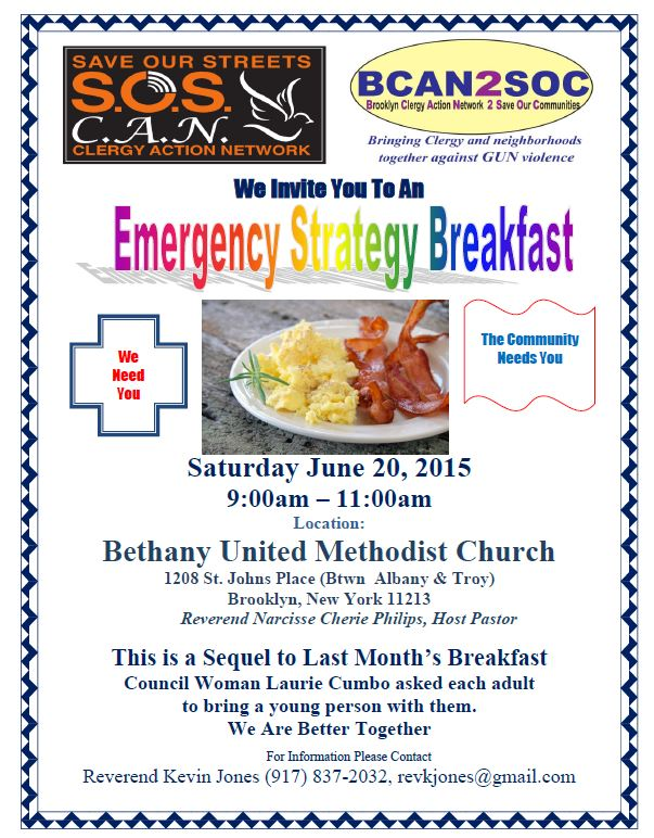 SOS  BCAN Emergency Clergy  Breakfast June 20th, 2015