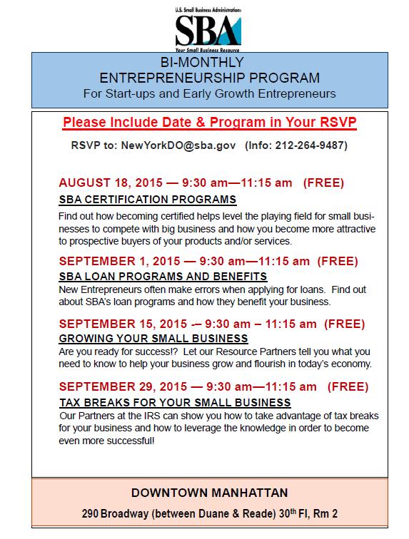 Bi-Monthly Entrepreneurial Seminars Aug-Sept