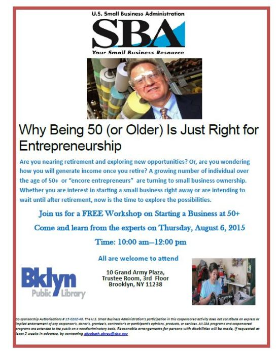 Brooklyn Library Why Being 50 or Older is Just Right for Entrepreneurship