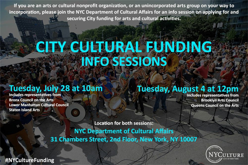 City Cultural Funding Info Sessions