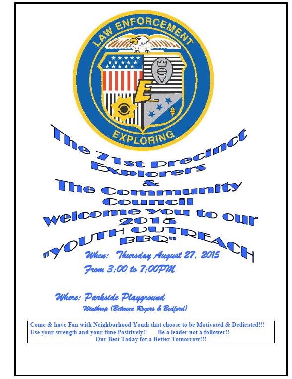 71 Precinct Explo. BBQ flyer