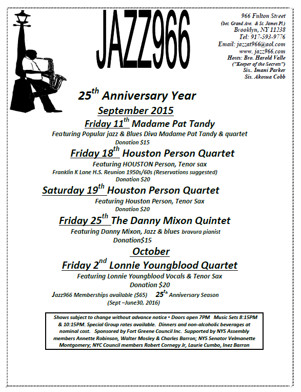 Jazz966 sept - oct 2015 Schedule