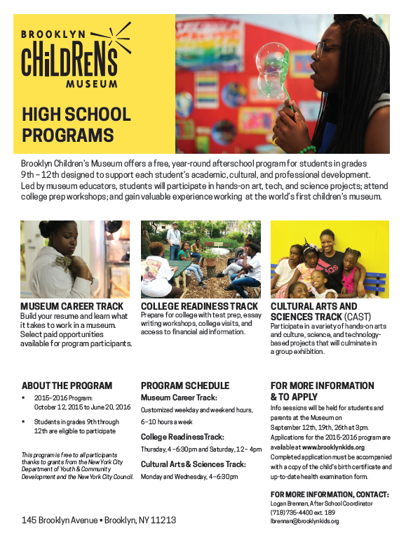 Brooklyn Childrens Museum Free After School Programs New York