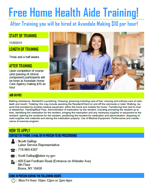 119 Event Free Home Health Aide Training New York City Council