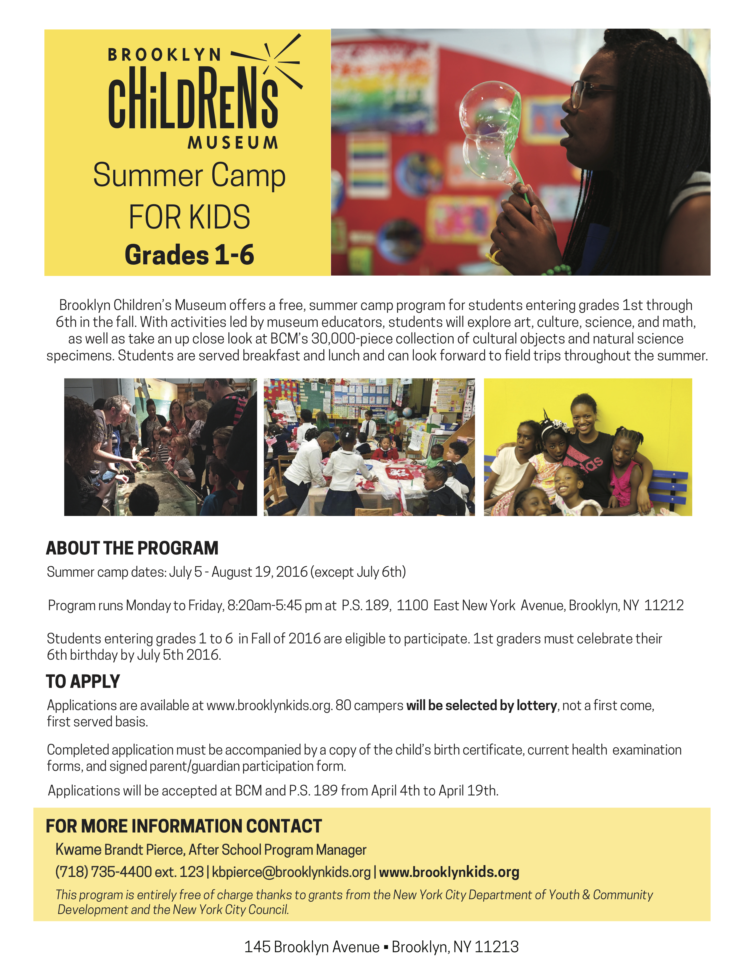 Apply 4/19: FREE Summer Camp for Grades 1-6 | New York City ...