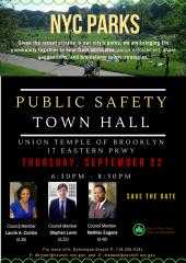 NYC parks safety town hall flyer_Save the Date