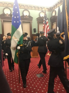 The NYPD Explorers Color Guard perform the National Anthem