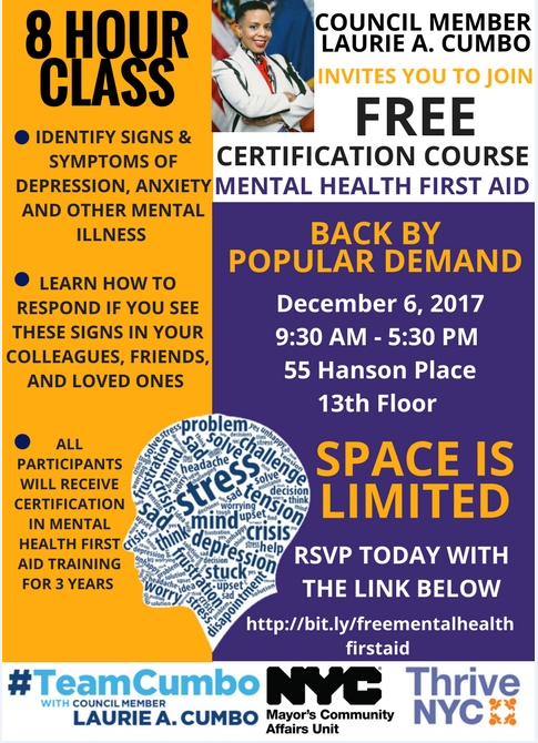 Free Mental Health Certification Course On December 6 2017 New York City Council Member Laurie A Cumbo